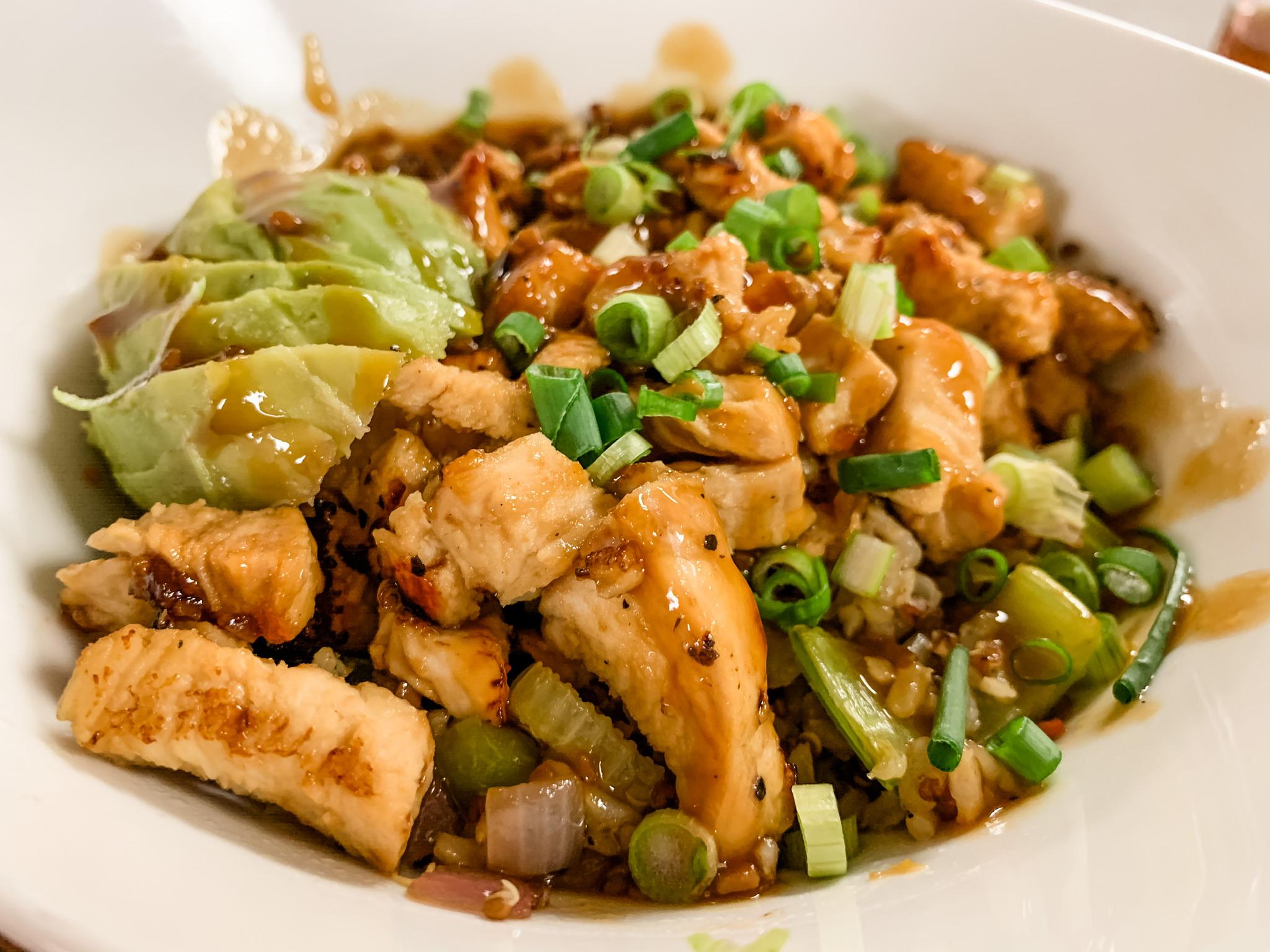 Rice bowl with chicken and orange teryaki